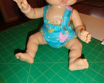 "Baby alive doll diaper with straps, handmade, fits 12-14"" dolls"
