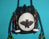 Deerskin Halloween  Medicine Bag with a Handmade Ceramic Bat bead on the front