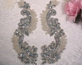 "0180 Silver Mirror Pair Sequin Beaded Appliques 8"" (0180x-sl)"
