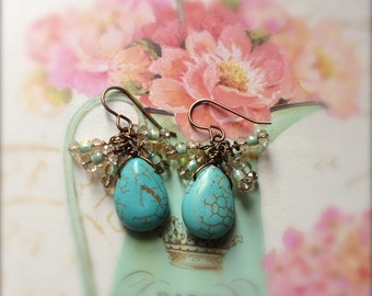 Stone Earrings Turquoise Magnesite Cluster Earrings Antiqued Brass