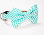 Gingham Bow Tie Dog Collar- Mint gingham