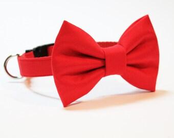 Dog Collar- Wedding Bow Tie Dog Collar- Red dog collar- Bow Tie Dog Collar- Bowtie dog collar