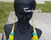Gold  blue beaded earrings
