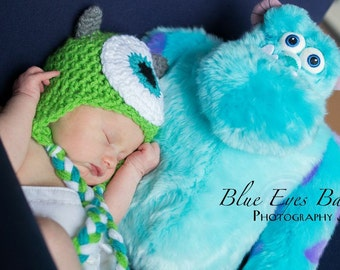 Newborn - Monster's Inc - Mike Wazowski - Ear Flap Hat - Photographer's Prop - Ready To Ship