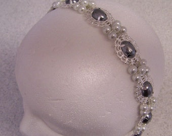 White and Black Pearl Silver Queen Catherine Pearl Medieval Renaissance Game of Thrones Filigree Circlet Head Band