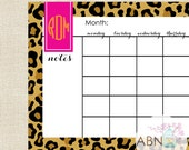 2016 Desk Calendar Pad - Monogrammed Leopard Pink and Orange - 11x17 Desk Pad - fill in your own dates - 53 Sheets