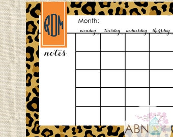 2016 Calendar - Monthly Desk Calendar Pad - Orange LEOPARD Collection - fill in your own dates - 53 Sheets