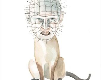 pinhead as an angry siamese cat Print