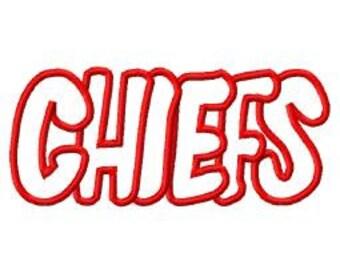 Chiefs Embroidery Machine Applique Design 4147
