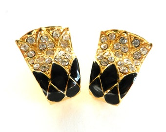 Original 1970 vintage, black & white earrings with enamel and crystals - -beautiful and elegant--Art.873/2 -