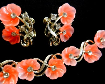 Spectacular 1940s Demi set - Signed STAR - Bright flowers and silver - exquisite design bracelet & earrings set--art.965/2-