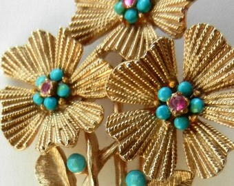 Exquisite floral brooch CAPRI signed - flowers and leaves, turquoise  & ruby crystals--Art.74/3 -