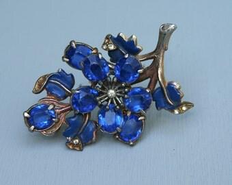 Antique Huge Glass  Pin. Blue Faceted Glass. Pot Metal. Brooch