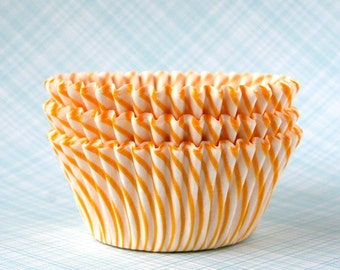 Yellow Stripe Cupcake Liners, Yellow Circus Stripe Baking Cups, Thin Stripe Cupcake Liners, Birthday Party Cupcake Liners (50)