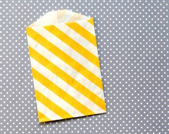 "SALE: Little Yellow Striped Paper Bags - Goody Bags - 2.75 x 4"" (20)"