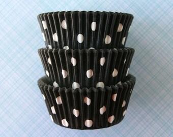 Black Polka Dot Cupcake Liners (50) Designer Black Dot Baking Cups