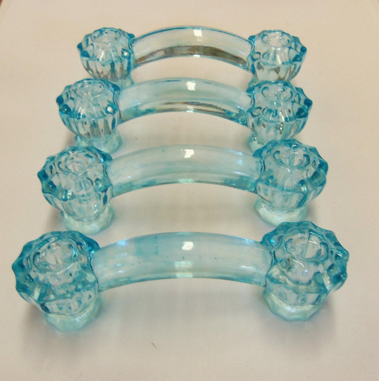 Set Of 4 Painted Glass Aqua Blue Drawer Pulls