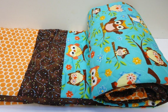 Owl Crib Bedding-Baby Boy Quilt-Baby By NowandThenQuilts