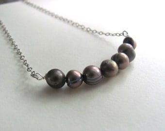 Freshwater pearl necklace in gray on delicate antiqued silver plated chain, modern bridal jewelry, classic handmade wedding