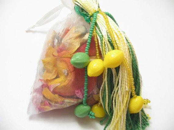 Lemon Lime Citrus Closet Freshener with Beaded Tassel