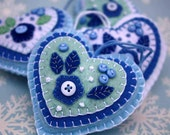 CIJ Sale Christmas heart ornament. Blue and white felt, CIJUK10, buttons, applique