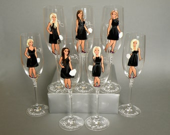 Bridal Party Wine or champagne Glasses Bridesmaids Gift  - Personalized Caricatures Handpainted to their Likeness