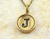 Letter J Necklace - Bronze Initial Typewriter Key Charm Necklace - Gwen Delicious Jewelry Design