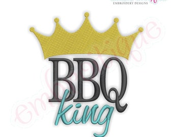 BBQ King Summer- Instant Email Delivery Download Machine embroidery design