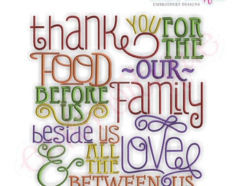 Thank You for the Food Before Us... Embroidery Design- Instant Email Delivery Download Machine embroidery design