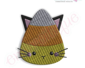 Candy Corn Kitty Fill Stitch - Instant Download -Digital Machine Embroidery Design