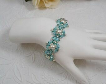 Woven Pearl Bracelet in Aqua Blue