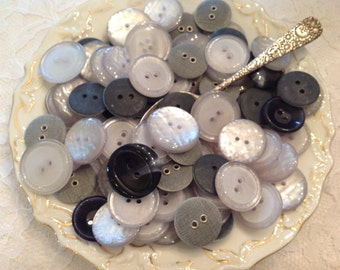 Vintage Buttons Shades Of Grays Blacks Silvery White ~ Vintage Sewing Supplies ~ Buttons for Crafts ~ Jewelry Making Supplies ~ Mixed Colors