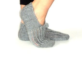 Winter, grey ,wool slippers ,knitting ,handmade slippers