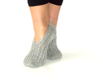 Handknitted ,Wool ,Grey ,Women Slippers ,Handmade slippers