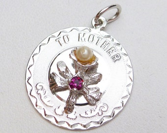 To Mother Flower Disc with Pearl Charm Sterling Silver
