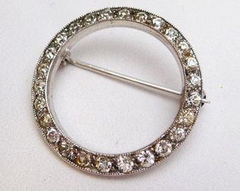 Clear European Cut Rhinestone Circle Pin Sterling Silver
