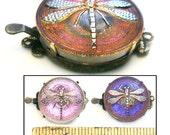 2pc 22mm Vintage Czech Glass GLOWING Purple Art Nouveau Dragonfly Button Jewelry CLASPS