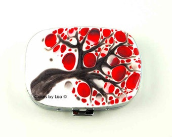 Oval Metal Pill Box with Mirror Hand Painted Enamel in Red White and Gray Blossom with a Glossy Finish Custom Colors and Personalized Option
