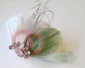 SALE SAGE and PINK Peacock Feather Clip Rhinestone Bridal  Wedding Fascinator Clip with Handmade Rhinestone Applique