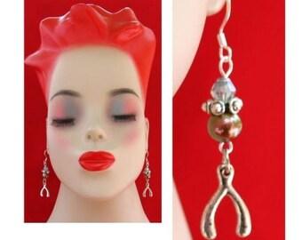 Silver Wishbone Charm Earrings Handmade Jewelry Women Accessories Fashion NEW