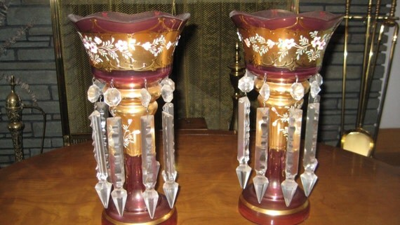 Antique Pair Cranberry Glass Candle Holders W Crystal Prisms