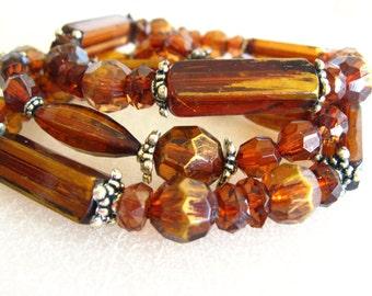 Brown Bracelet Set, Brown Beads Adjustable Bracelets, Beaded Bracelet Set, Amber Brown Bead Bracelet, 3 Bracelet Set, Stretch Bracelets
