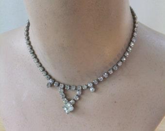 Vintage Necklace Rhinestone Choker Clear Silver Tone Costume Jewelry Retro Formal Wedding Prom