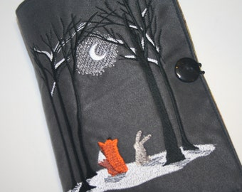 Fox and the Hare in the Moon light Embroidered  Book Cover