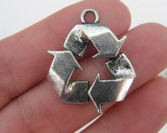 BULK 20 Recycle pendants antique silver tone M215