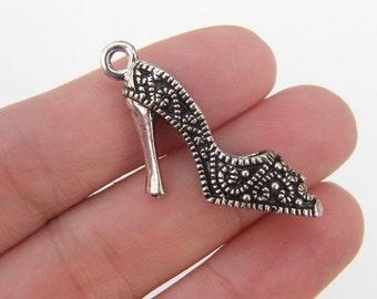 BULK 10 High heel shoe pendants antique silver tone CA194