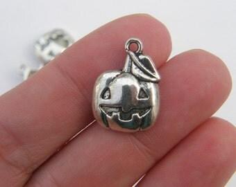 6 Halloween pumpkin charms antique silver tone HC179