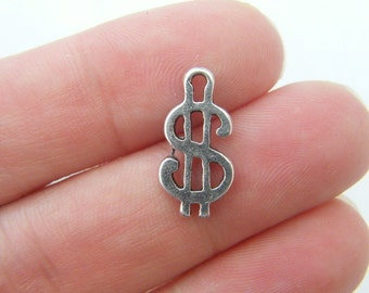 BULK 50 Dollar sign charms antique silver tone WT97 - SALE 50% OFF