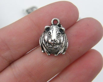 6 Guinea pig charms antique silver tone A91