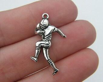 BULK 30 American football player pendants antique silver tone SP14